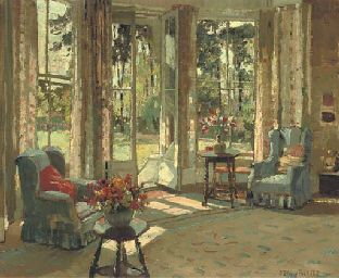 'The Drawing Room in Summer' by English painter Herbert Davis Richter (1874-1955).