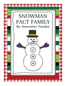 Snowman Fact Family by Innovative Teacher includes 19 fact family worksheets.