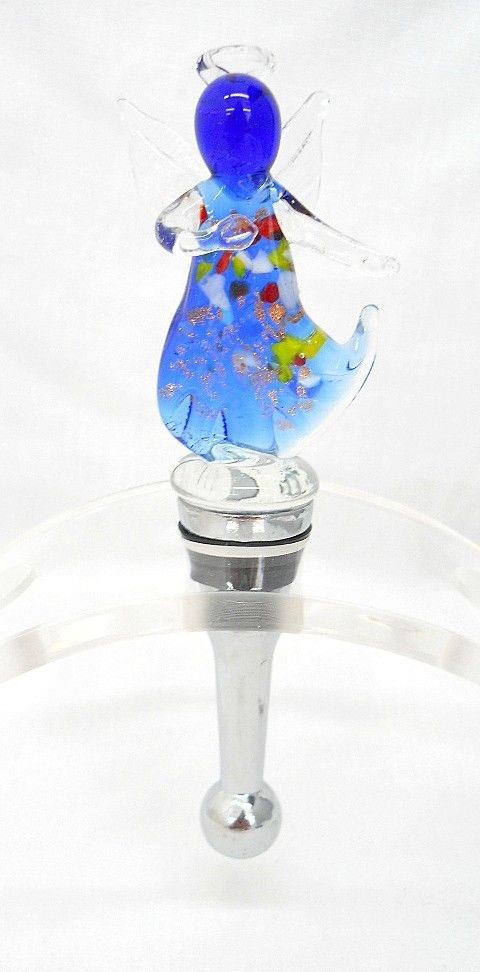 New Hand Blown Glass Blue Angel Multi Colored Speckles Wine Stopper Cork