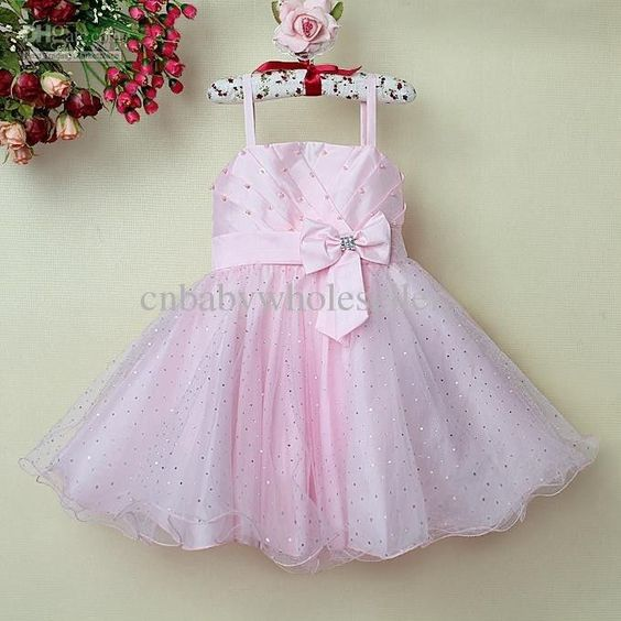 Girl Princess Dress Pretty Kids Pink Formal Dresses With Bow ...