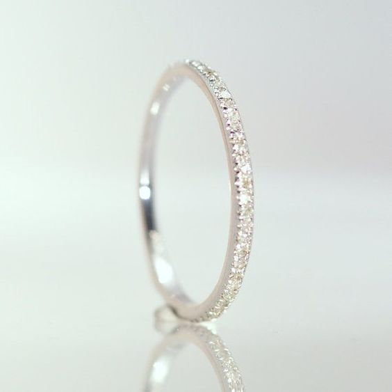 Wedding Band diamond band 1.5 mm 14K White Gold by ReneJewelry, $340.00