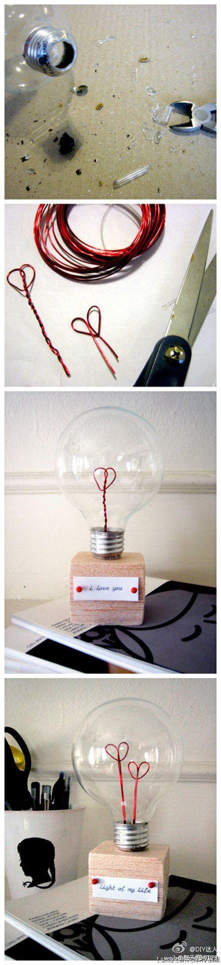 DIY ajándék Valentin-napra villanykörtéből.