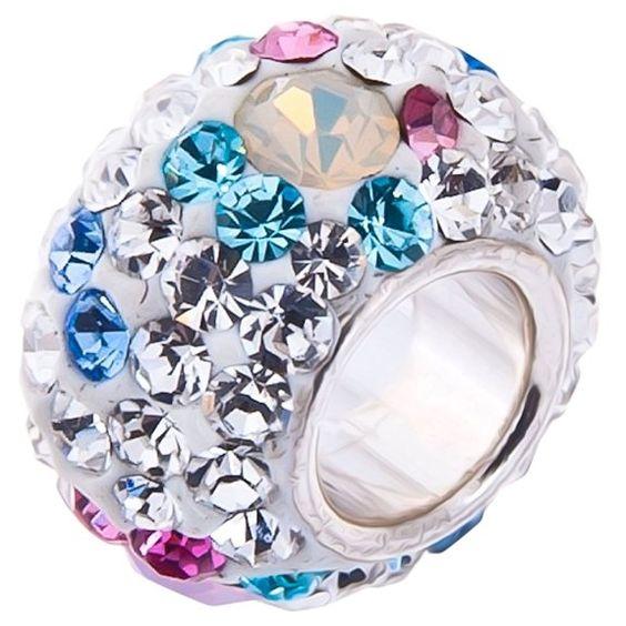 Opal & Crystal Charm Bead - 925 Sterling Silver - fits Pandora Biagi Chamilia & Trollbeads Bracelets