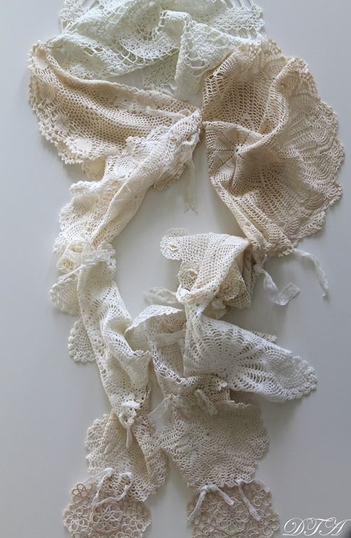 Romantic scarf made from doilies. Decor To Adore