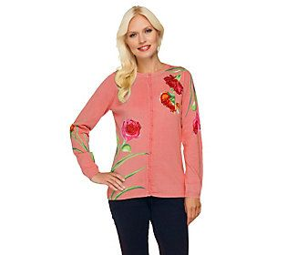 Quacker Factory Think Pink Sparkle Floral Printed Cardigan