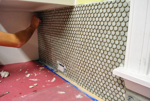 Mixing thinset applying it with a trowel other tiling for How to do a penny backsplash