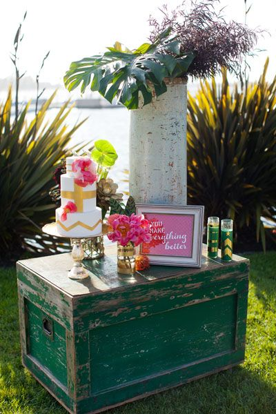 """Wedding cake and display table for """"Forward March"""" wedding theme at Paradise Point Resort & Spa in San Diego"""