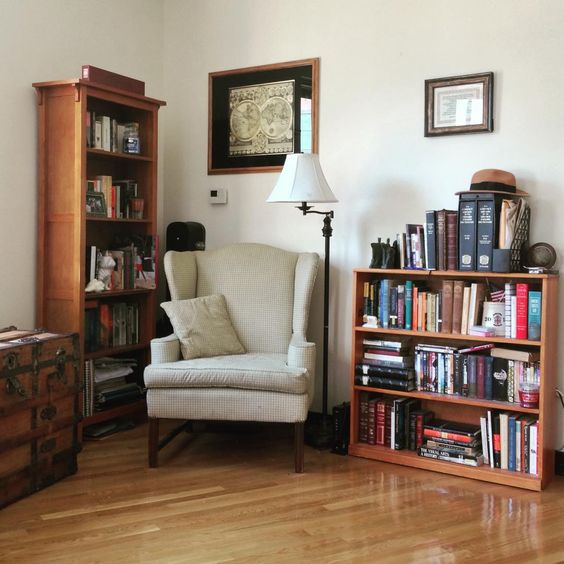 """Reading nook is complete! Now I just need a rug to really bring the room together """