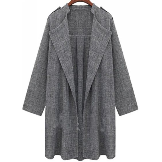 Metup Women's Roll up Sleeve Drape Lapel Open Front Cardigan Outwear... (€16) ❤ liked on Polyvore featuring outerwear, jackets, blazers, open front drape cardigan, womens plus size blazers, plus size blazer jacket, open cardigan and plus size open cardigan