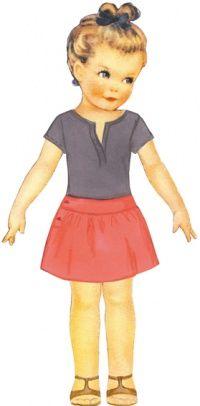 Pélagie : jupe froncée, ceinture en forme légèrement tombant sur les hanches, fente boutonnée sur le côté, de Citronille