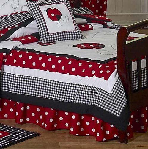 Red and White Polka Dot Ladybug Toddler Bedding 5 pc set by Sweet Jojo Designs