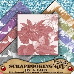 Christmas Poinsettia 8 Scrapbooking Papers Kit on Craftsuprint - View Now!