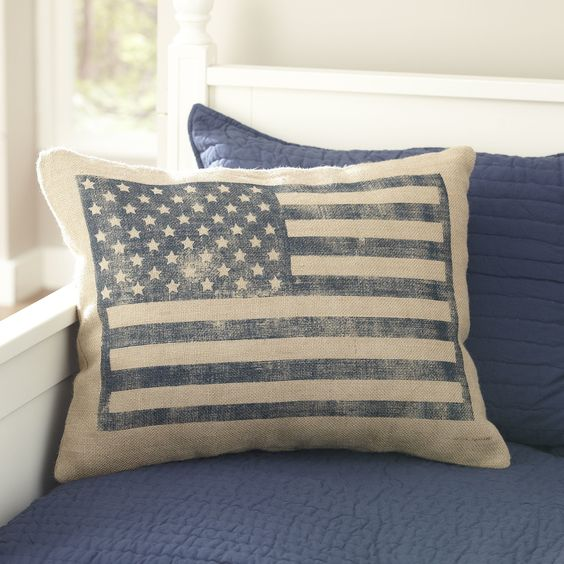 Flag Burlap Pillow Cover | Featuring a flag motif printed with a faded technique, this pillow cover uses burlap to enhance the rustic feel.