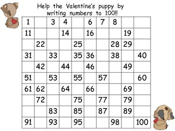 FREE Valentine's Day Writing Numbers to 100- Kindergarten & 1st ...