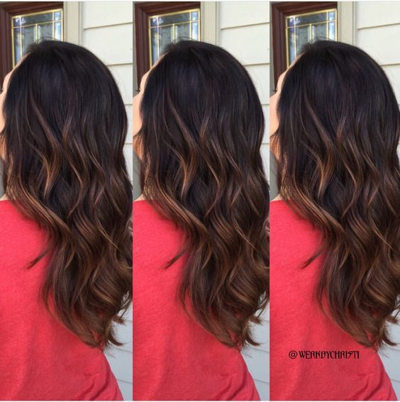 Brunette dark hair balayage ombré. Caramel hair color. Caramel balayage. Fall hair.