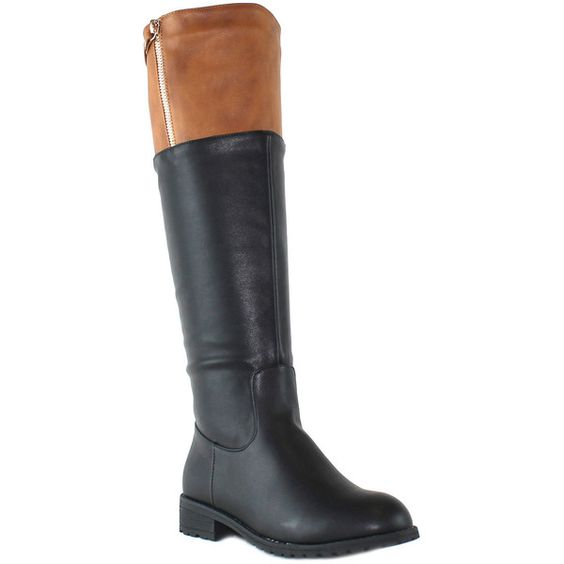 OLIVIA MILLER Black & Brown Sutton Riding Boot ($35) ❤ liked on Polyvore featuring shoes, boots, knee-high boots, knee high boots, riding boots, knee boots, brown equestrian boots and black boots