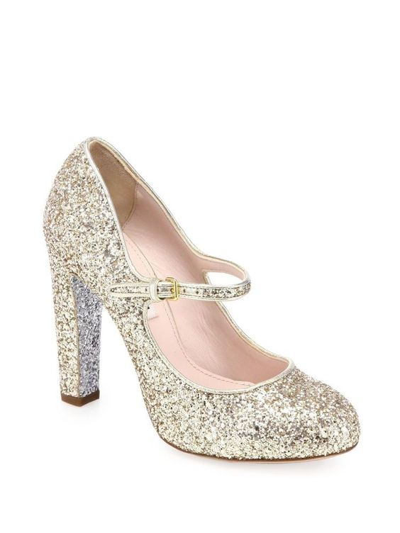 Miu Miu Prada Classic Mary Jane Gold Glitter Silver Heel Pumps 36 ...