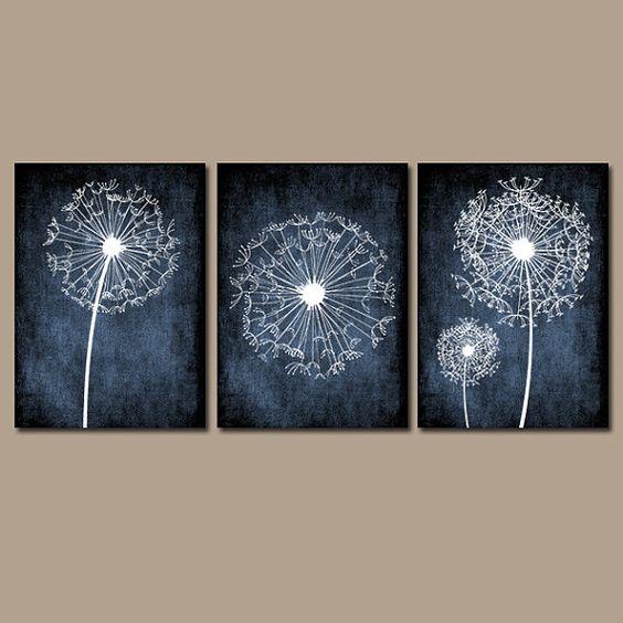 Dandelion Wall Art Flower Black White Chalkboard Custom