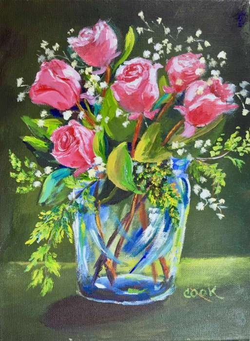 Pink Roses In A Glass Vase An Academy Acrylic Painting Lesson By Ginger Cook 2 Cookies Rose Painting Rose Painting Acrylic Flowers In Vase Painting