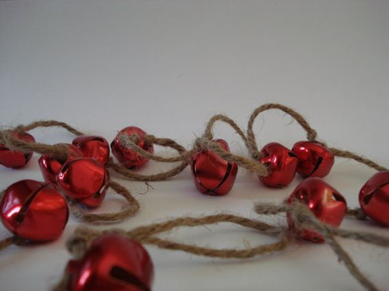 Red jingle bell christmas garland holiday pinterest