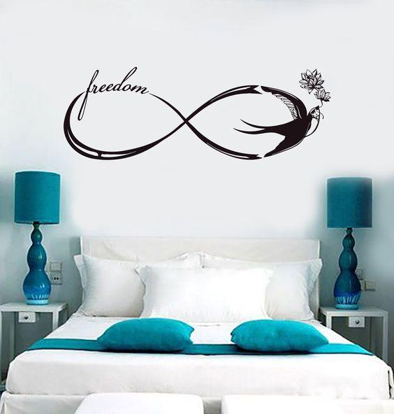Vinyl Wall Decal Infinity Freedom Swallow Bedroom Stickers Mural (ig4106)