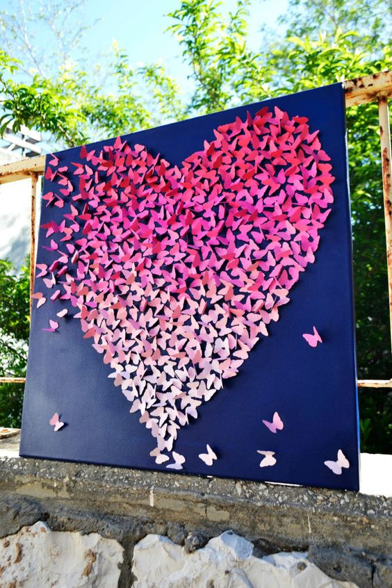 CUSTOMIZED COLOR SCHEME - 3D Butterfly Heart / Unique Wedding Gift / Engagement / 1st Anniversary / Nursery Decor / Children's Room on Etsy, $210.00