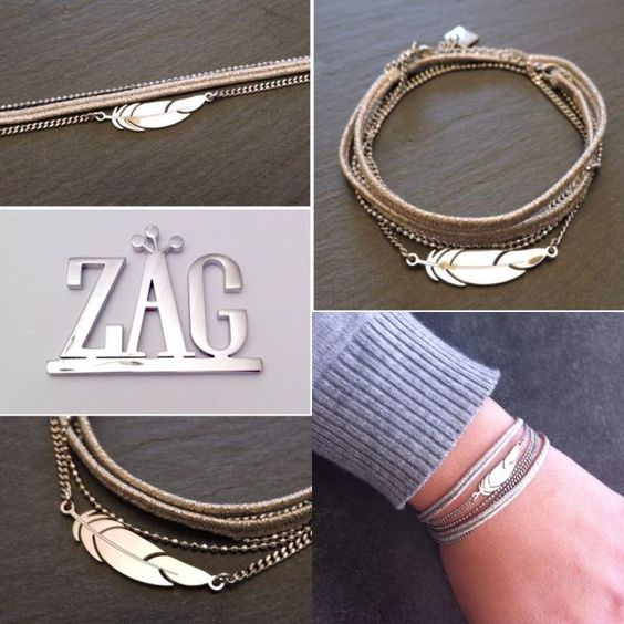 Bracelet multirangs argent plume Zag Bijoux , 33,99\u20ac