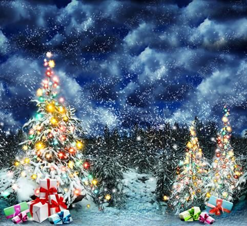 AOFOTO 20x10ft Snowing Winter Christmas Backdrop for Photos Ice and Snow Scene Snowfield Pine Tree Needles Xmas Ornaments Lantern Photography Background Kids Girls Family Adutls Portrait Back Drops