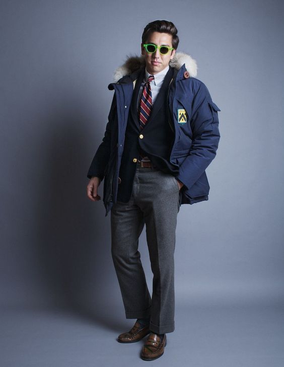 Go-to-hell sunglasses, parka over sport coat/suit