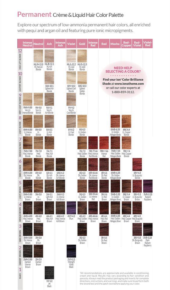 Perm Palette Png 920 1567 Hair Color Chart Permanent Hair Color Ion Hair Colors