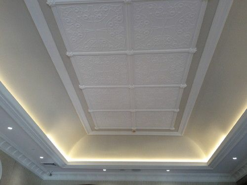 recessed lighting with plaster molded ceiling gives the illusion of high ceilings while adding elegance and ambient lighting dramatic yet elegant ceiling ambient lighting
