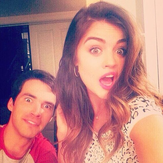 Lucy Hale and Ian Harding were silly on the Pretty Little Liars set. Source: Instagram user lucyhale