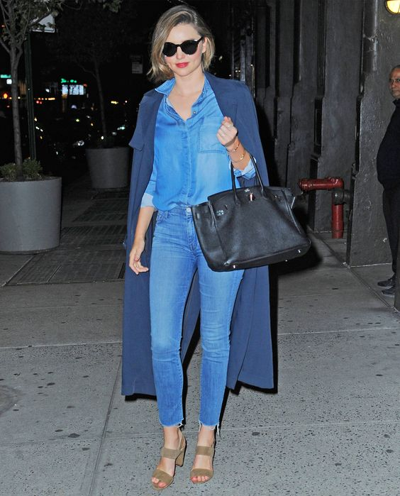 Miranda Kerr Makes a Canadian Tuxedo Look Like Couture in N.Y.C. from InStyle.com