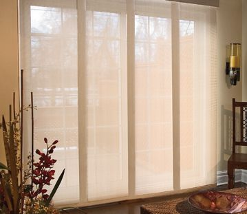 these are called 'panel track shades' - LOVE this look for sliding glass doors. Want the light in the day, but sometimes need shade when too sunny, and want a bit of privacy at night.
