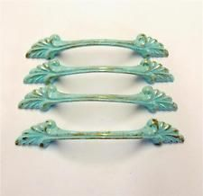 "Drawer Pulls Lot 4 Vintage Bow Shabby Distressed Aqua Gold 3"" Centers"
