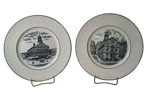 Spode Boston Souvenir Plates, Pair on OneKingsLane.com | Vintage ...