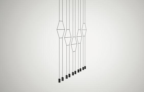 VIBIA -La lámpara colgante Wireflow 2D dibuja formas minimalistas en dos dimensiones logrando una esencia gráfica cautivadora.Disponible con 2, 6 y 10 difusores.