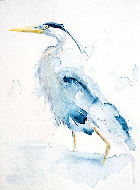 Acuarela pájaro Garza Original de agua de color por PaulCheneyArt