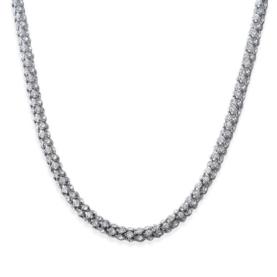 White Austrian Crystal Necklace (Size 24 in) in Stainless Steel