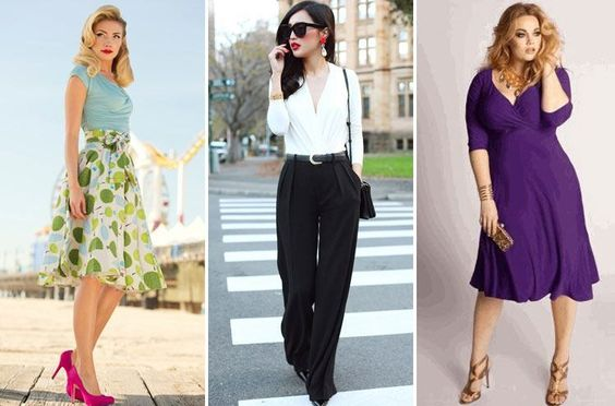 if You Have Wide Hips -not very heavy or super tight fabrics. they highlight wide booty not creating a size-reducing effect. Right fit is necessary, stay away from form-fitting, skin-tight dresses. No baby doll blouses, tulip tops, short jackets. Avoid low-waist pants light-coloured jeans. capri pants can  em- phasize flaws. stay away from details embellishment on lower part of garment