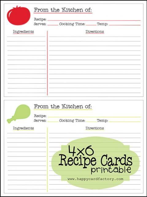 free printable  4x6 recipes cards