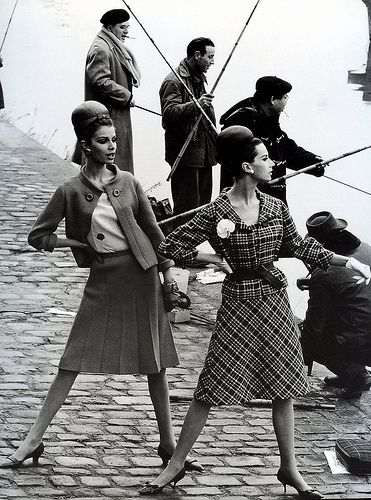 """""""Paris Silhouettes"""", Gloria Friedrich and Bettina Lauer in suits by Pierre Cardin, photographed along the Seine by Rico Puhlmann for Stern magazine, March 3, 1963"""
