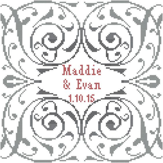 A personal favorite from my Etsy shop https://www.etsy.com/listing/214142087/modern-wedding-flourish-cross-stitch