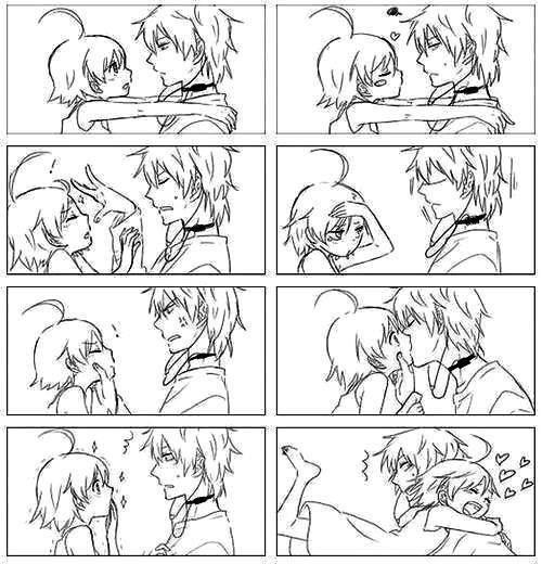 Black And White Comic Strip Between Anime Boy Little GirlKawaii