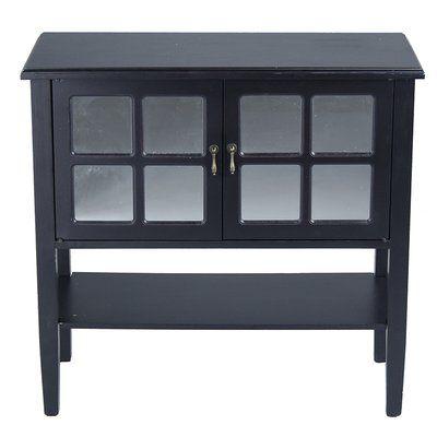 Charlton Home Wilsey 2 Door Accent Cabinet Color Black Console Cabinet Tempered Glass Door Cabinet