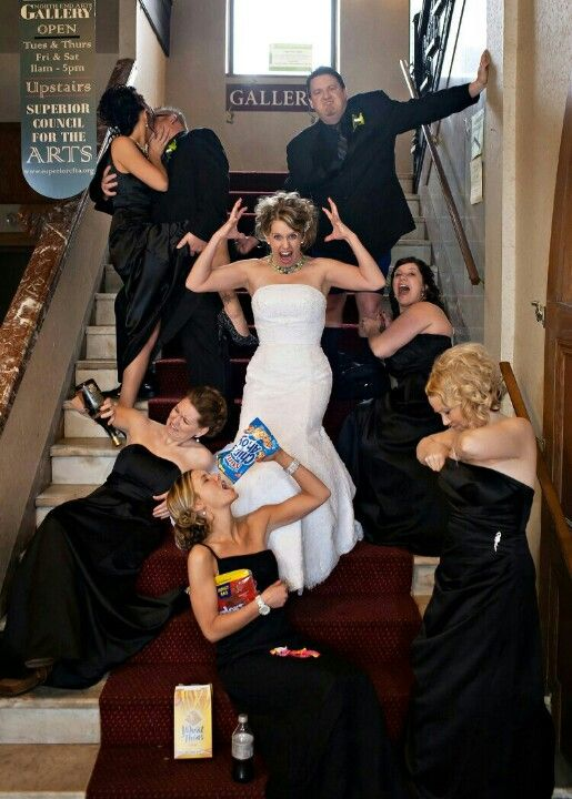 Funny wedding photos. Worst bridesmaids ever. @Kerri S. S. S. P-S Id be the one with the empty booze bottle lol