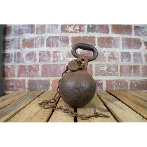 Details about antique cast iron lb prison ball and chain
