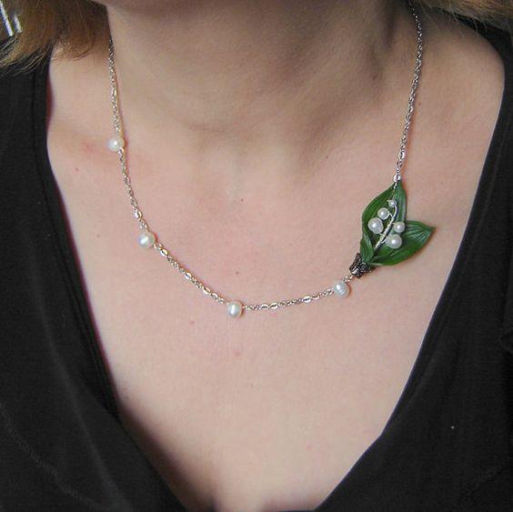 C'est de saison... Lily of  the  valley  necklace  with  freshwater  par agatsjewelry, $21,00