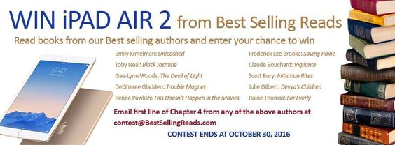 Send us the first line of Chapter 4 from your favorite BestSelling Reads book for a chance to win a brand new iPad Air 2 loaded with the Kindle Reader and 10 books by Bestselling Reads authors. To be eligible to win the prize, you must email the first line of Chapter 4 from any book by one of …
