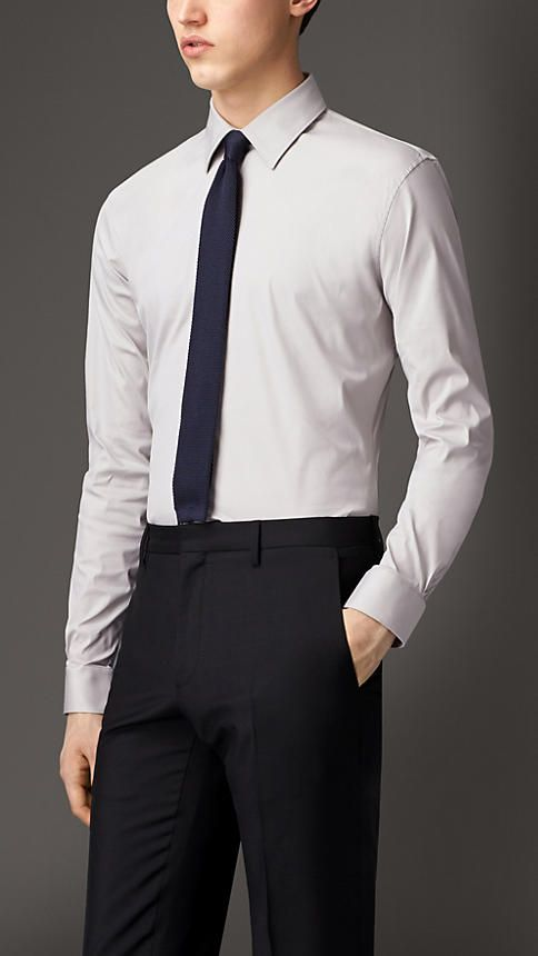 Burberry Pale Stone Grey Slim Fit Stretch Cotton Blend Shirt - A slim fit shirt in a stretch-cotton blend. The sharply tailored design features a point collar and adjustable cuffs. Discover men's tailoring at Burberry.com